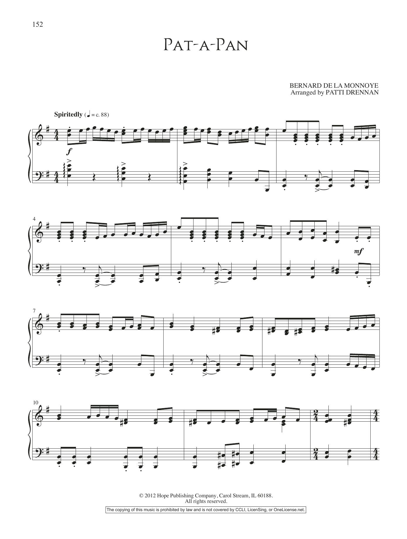 Patti Drennan Pat-a-Pan sheet music notes and chords. Download Printable PDF.