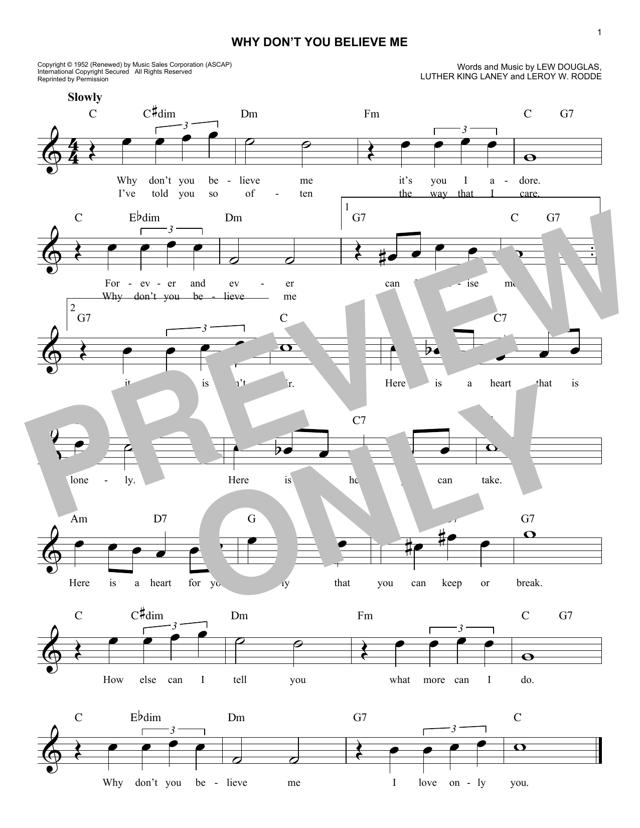 Patti Page Why Don't You Believe Me sheet music notes and chords. Download Printable PDF.