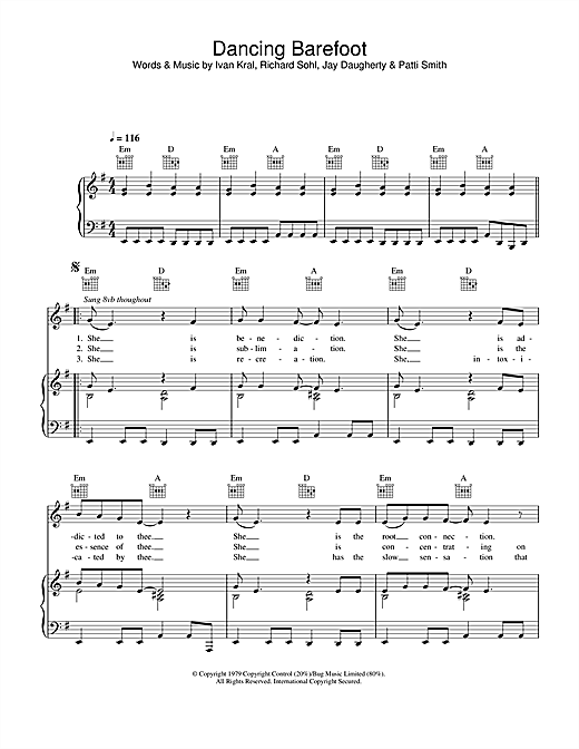 Patti Smith Dancing Barefoot sheet music notes and chords. Download Printable PDF.