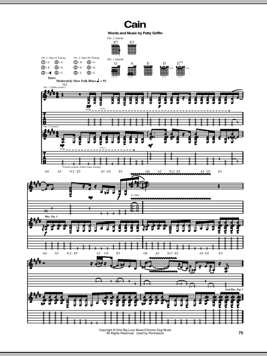 Patty Griffin Cain sheet music notes and chords. Download Printable PDF.