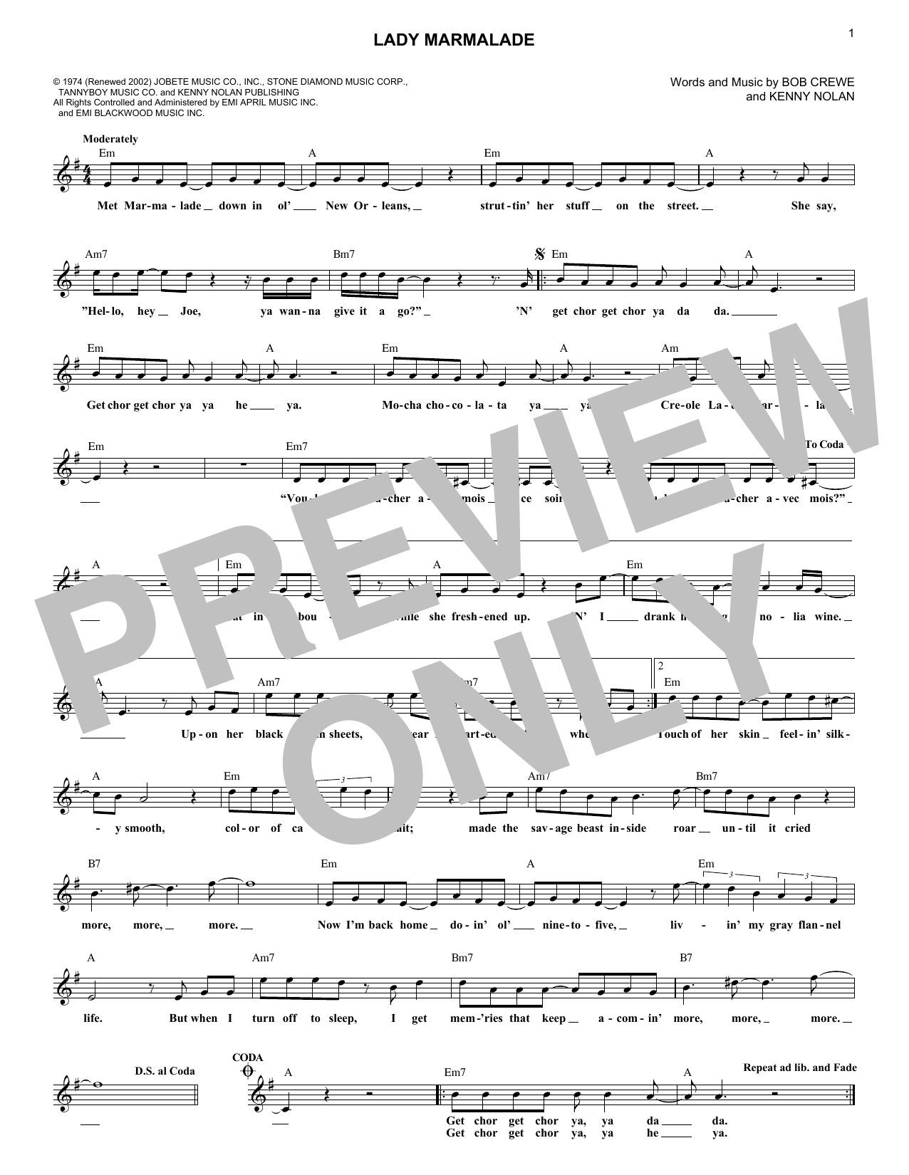 Patty LaBelle Lady Marmalade sheet music notes and chords