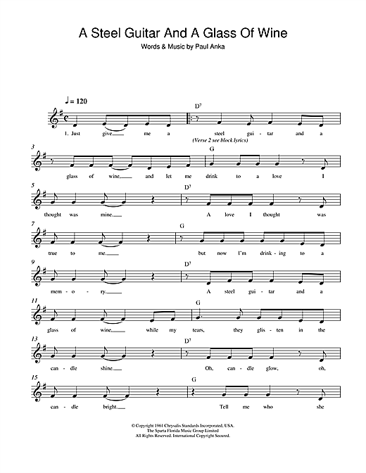 Paul Anka A Steel Guitar And A Glass Of Wine sheet music notes and chords. Download Printable PDF.