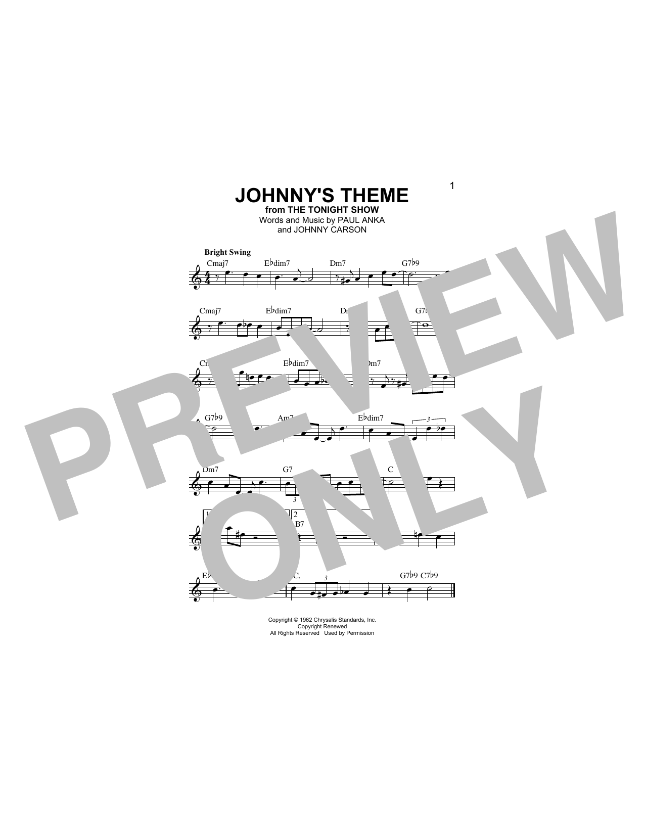 Paul Anka Johnny's Theme sheet music notes and chords. Download Printable PDF.