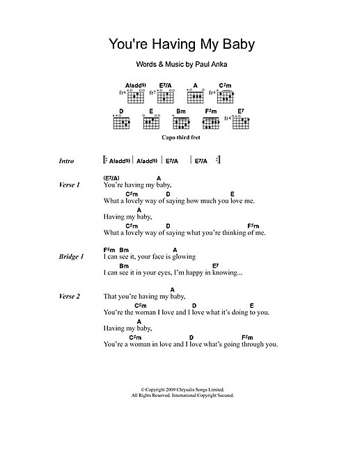 Paul Anka You're Having My Baby sheet music notes and chords. Download Printable PDF.