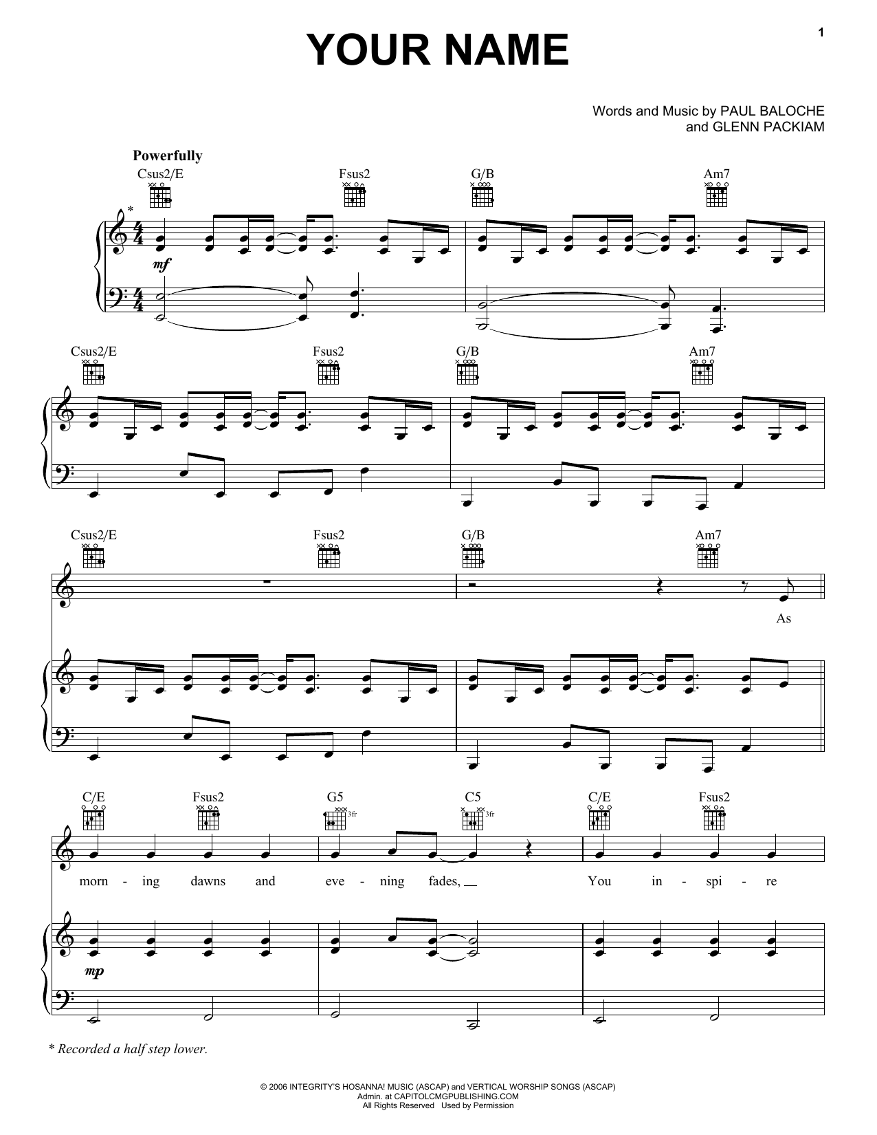 Paul Baloche Your Name sheet music notes and chords