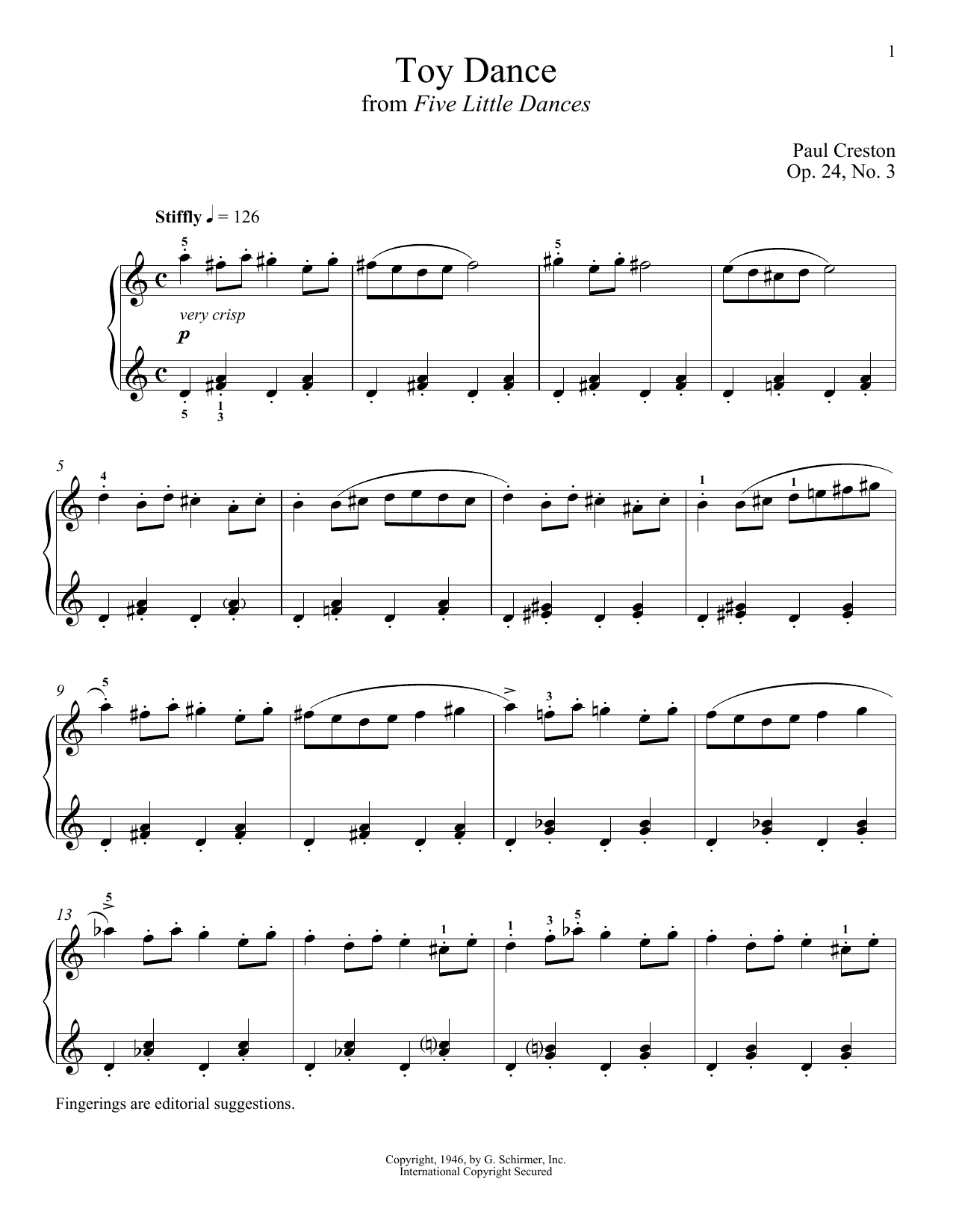 Paul Creston Toy Dance sheet music notes and chords. Download Printable PDF.