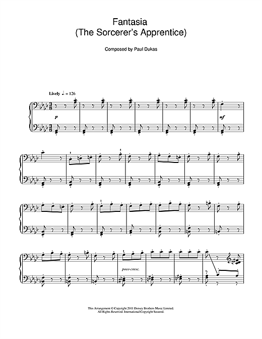 Paul Dukas Fantasia (The Sorcerer's Apprentice) sheet music notes and chords