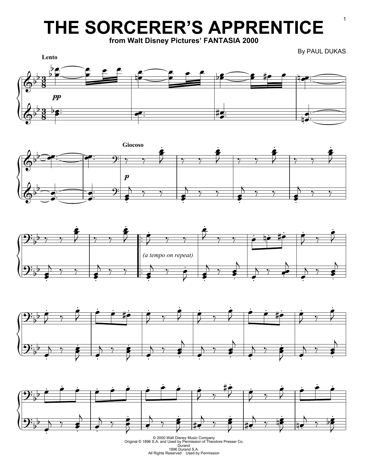 Paul Dukas The Sorcerer's Apprentice sheet music notes and chords. Download Printable PDF.