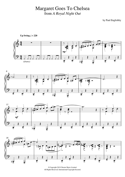 Paul Englishby Margaret Goes To Chelsea (From 'A Royal Night Out') sheet music notes and chords. Download Printable PDF.