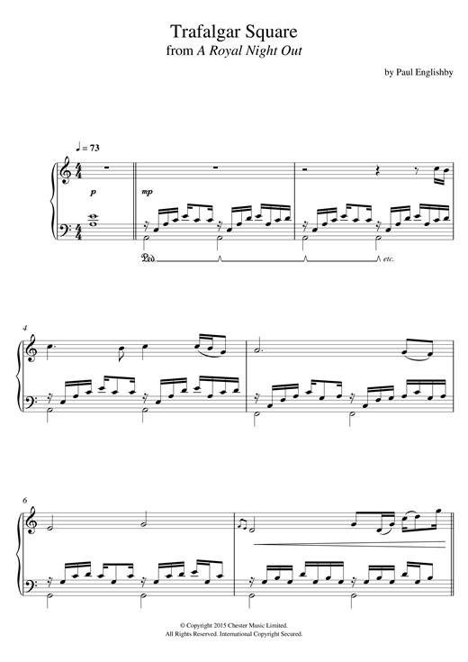 Paul Englishby Trafalgar Square (From 'A Royal Night Out') sheet music notes and chords. Download Printable PDF.