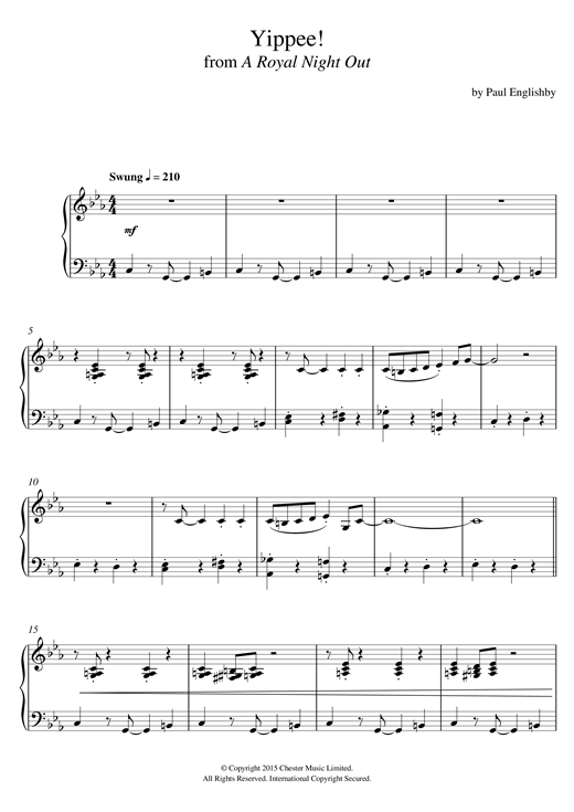 Paul Englishby Yippee! (From 'A Royal Night Out') sheet music notes and chords