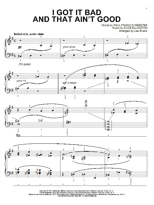 Paul Francis Webster I Got It Bad And That Ain't Good sheet music notes and chords. Download Printable PDF.