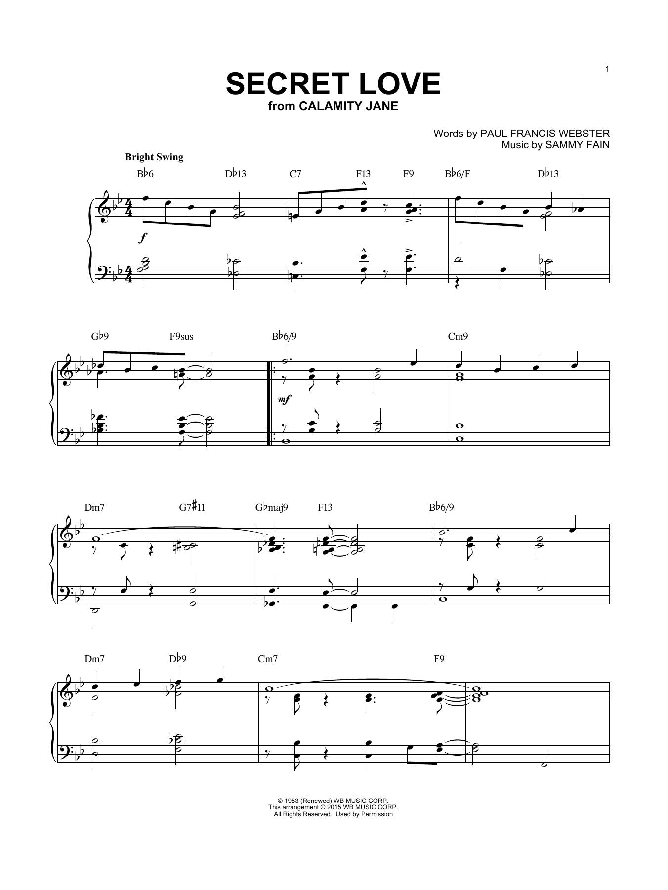 Paul Francis Webster Secret Love [Jazz version] (arr. Brent Edstrom) sheet music notes and chords. Download Printable PDF.
