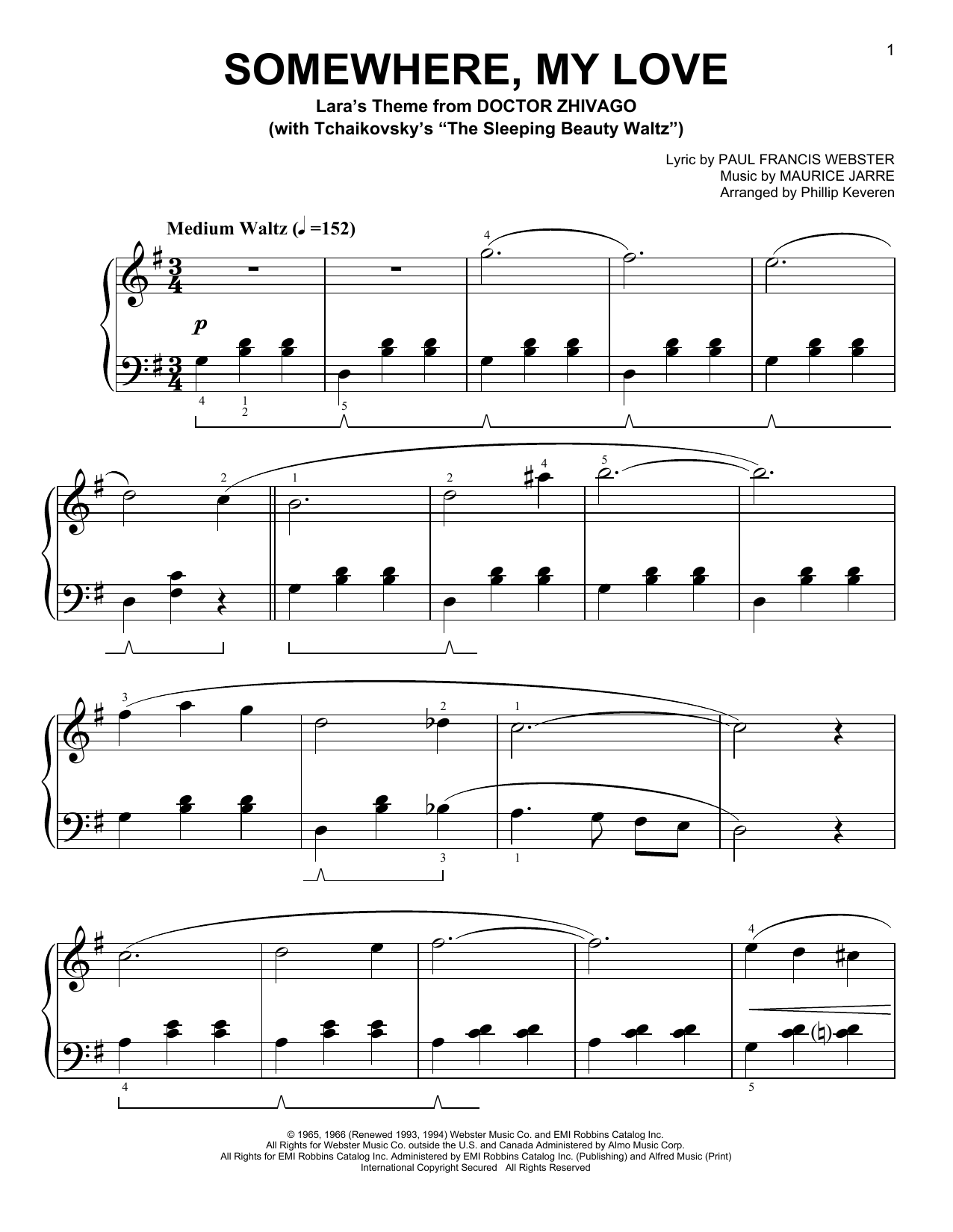 Paul Francis Webster Somewhere, My Love [Classical version] (arr. Phillip Keveren) sheet music notes and chords. Download Printable PDF.
