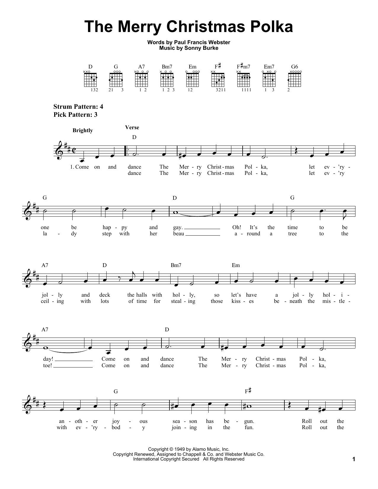 Paul Francis Webster The Merry Christmas Polka sheet music notes and chords. Download Printable PDF.