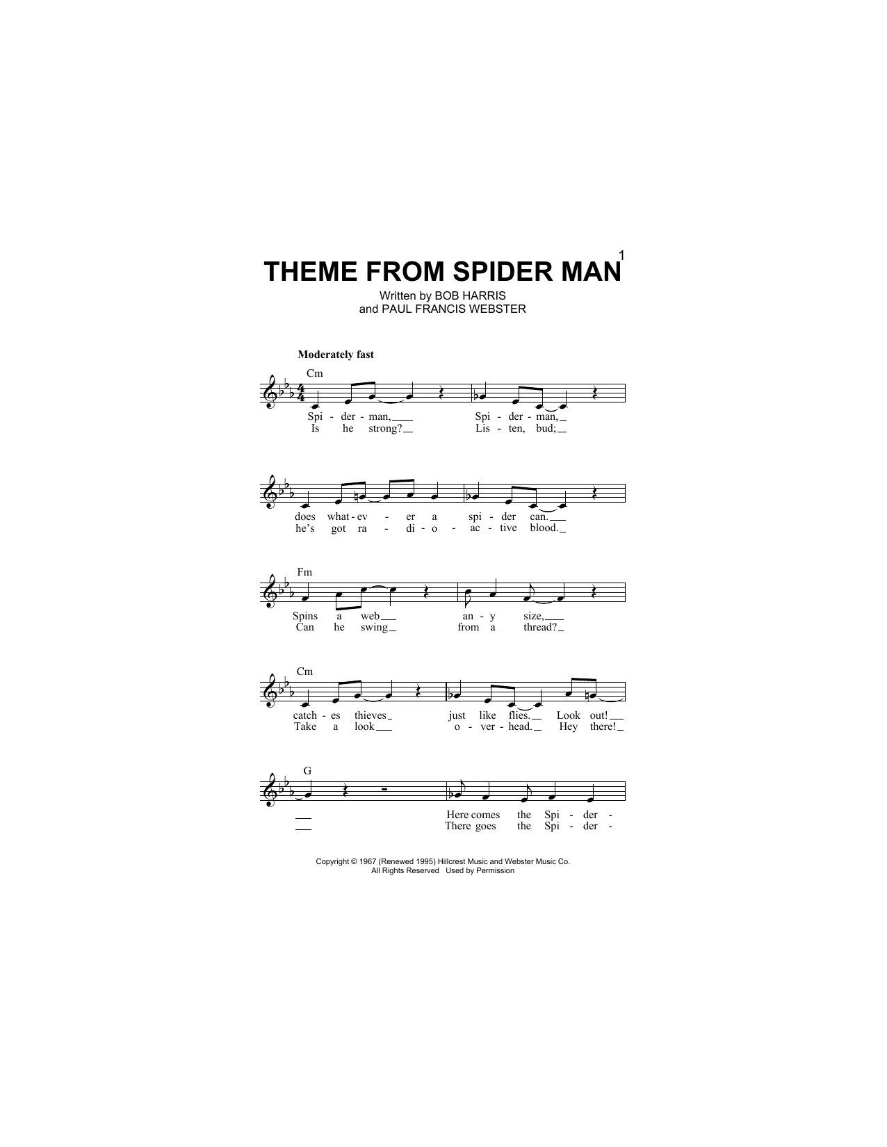 Paul Francis Webster Theme From Spider Man sheet music notes and chords