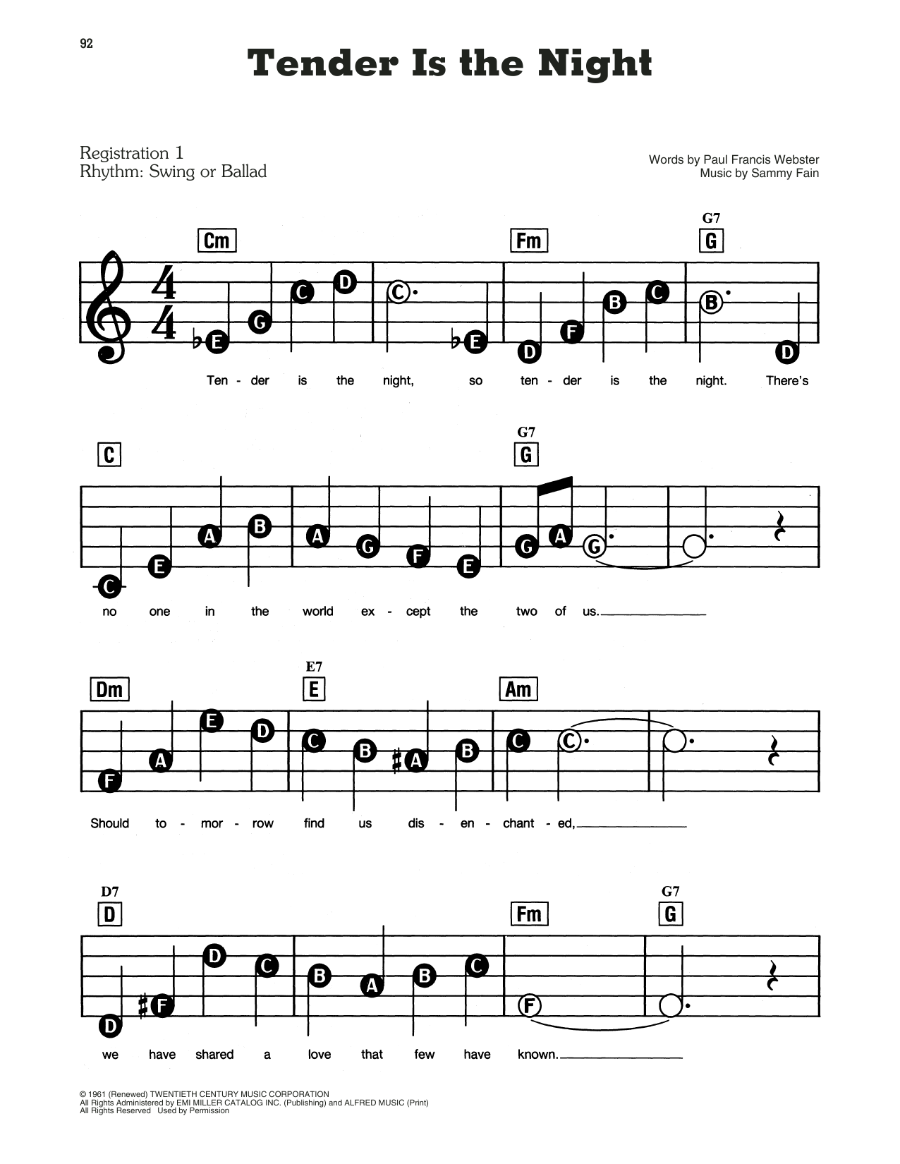 Paul Francis Webster and Sammy Fain Tender Is The Night sheet music notes and chords. Download Printable PDF.