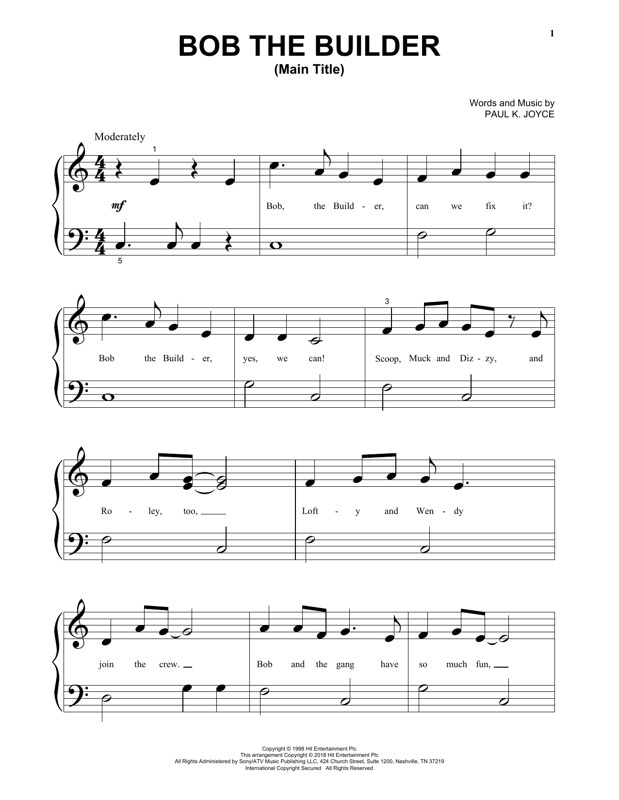 Paul K. Joyce Bob The Builder (Main Title) sheet music notes and chords. Download Printable PDF.