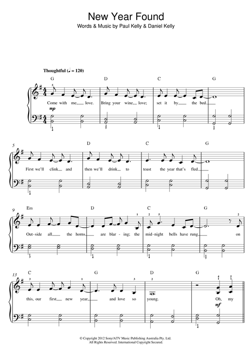 Paul Kelly New Found Year sheet music notes and chords. Download Printable PDF.