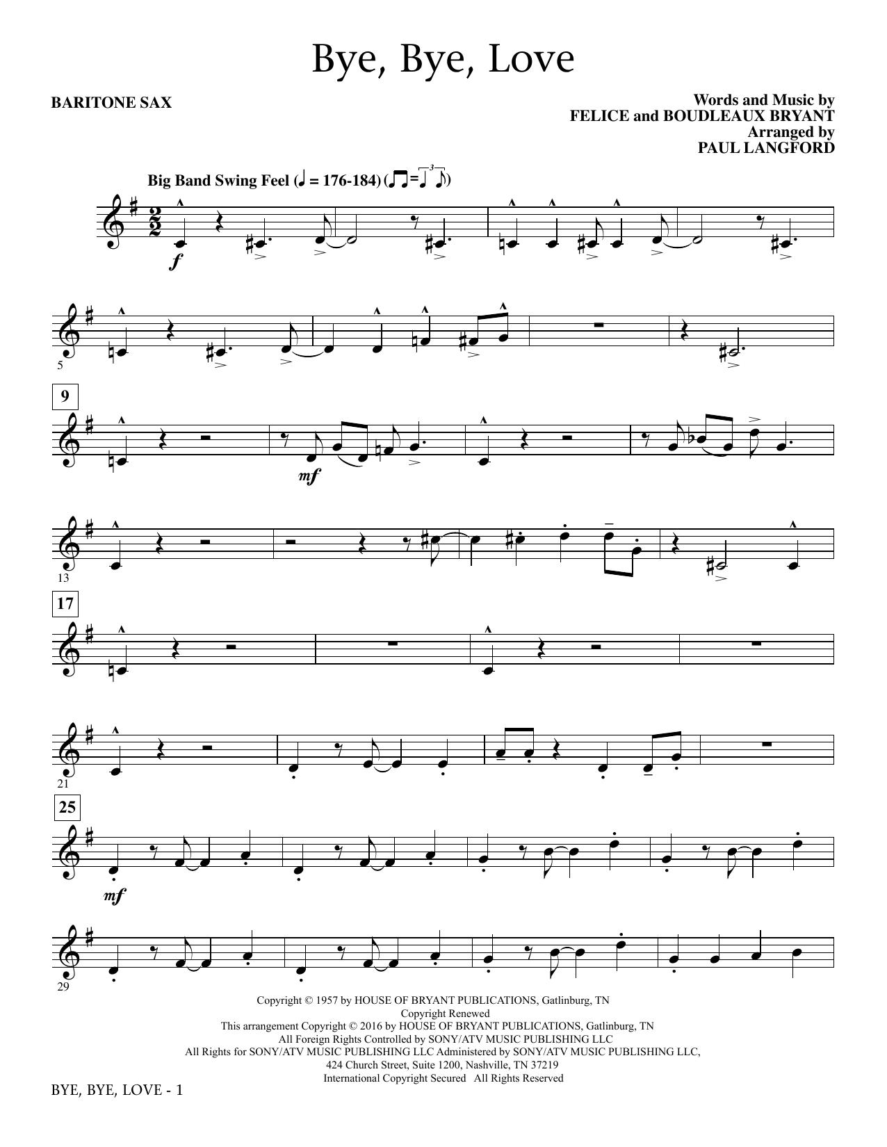 Paul Langford Bye, Bye Love - Baritone Sax sheet music notes and chords. Download Printable PDF.