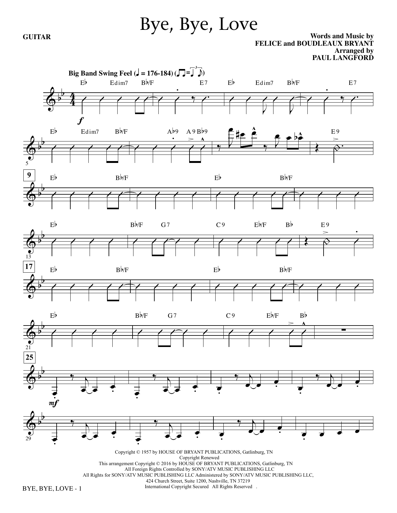 Paul Langford Bye, Bye Love - Guitar sheet music notes and chords. Download Printable PDF.