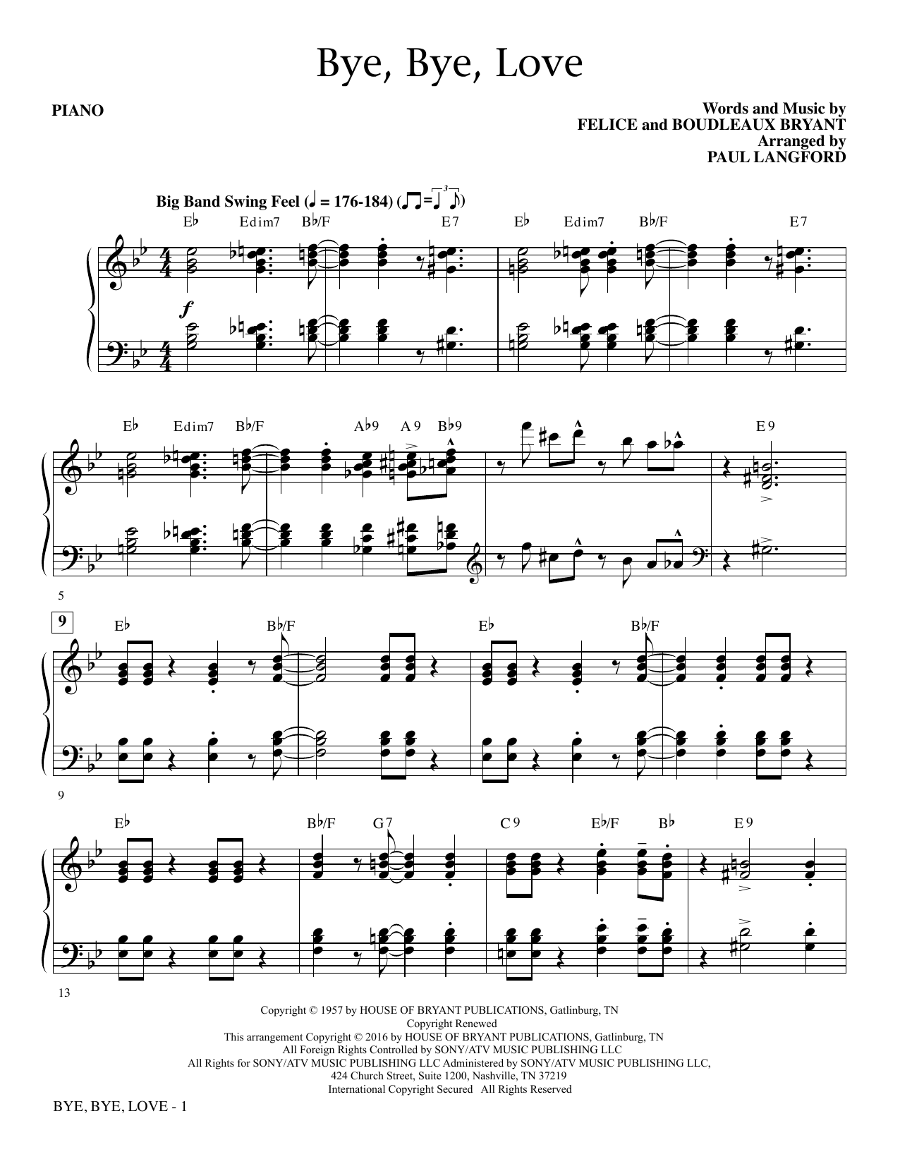 Paul Langford Bye, Bye Love - Piano sheet music notes and chords. Download Printable PDF.