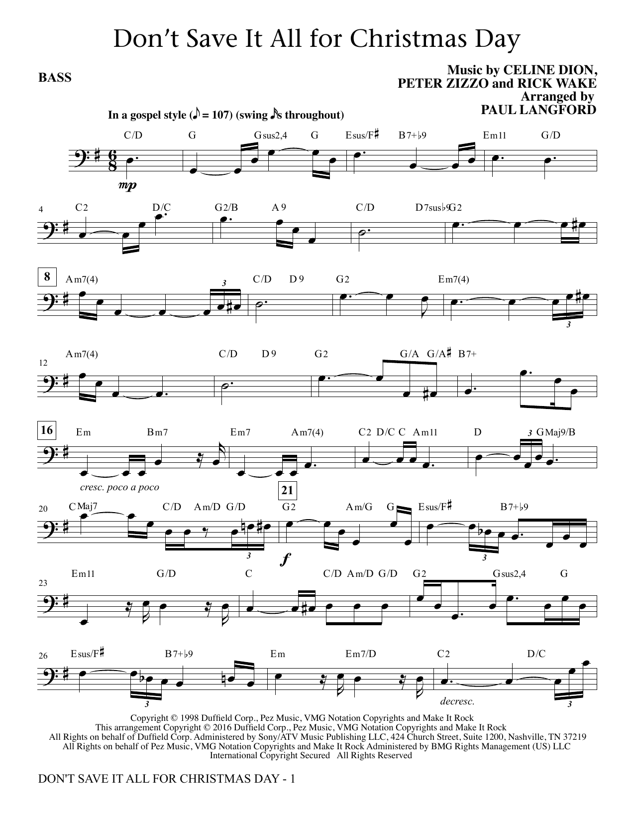 Paul Langford Don't Save It All for Christmas Day - Bass sheet music notes and chords. Download Printable PDF.