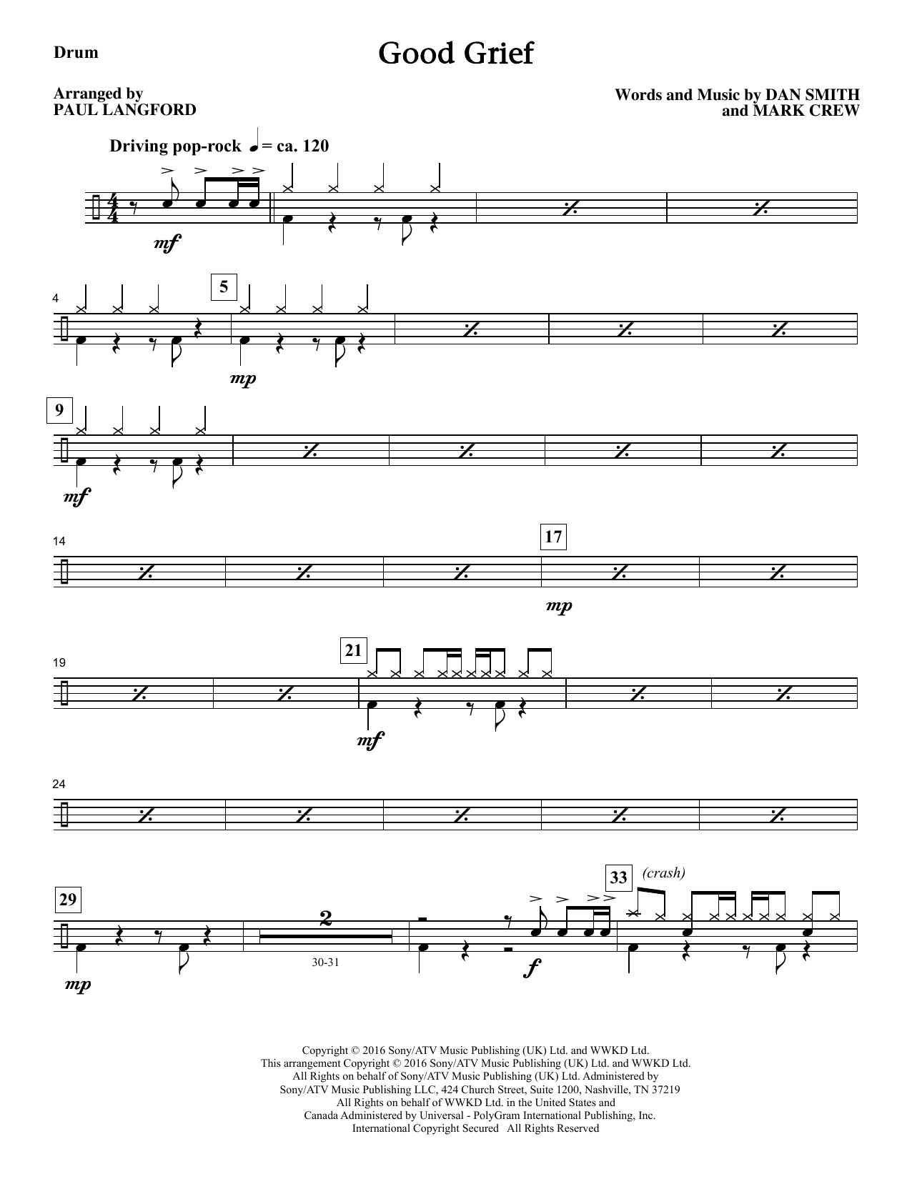 Paul Langford Good Grief - Drums sheet music notes and chords. Download Printable PDF.