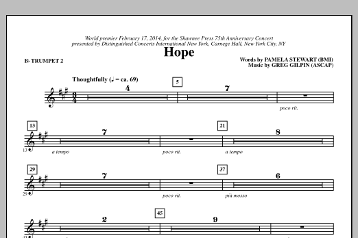 Paul Langford Hope - Bb Trumpet 2 sheet music notes and chords. Download Printable PDF.