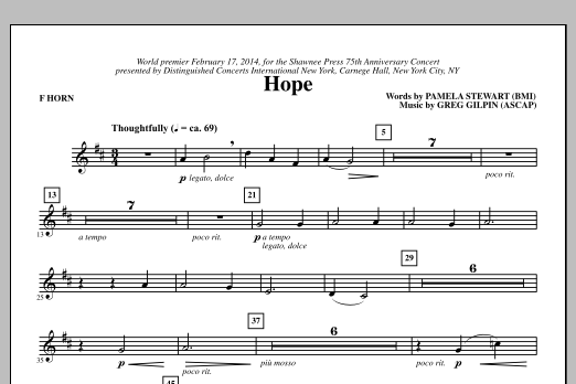 Paul Langford Hope - F Horn sheet music notes and chords. Download Printable PDF.