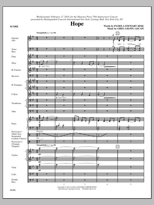 Paul Langford Hope - Full Score sheet music notes and chords. Download Printable PDF.