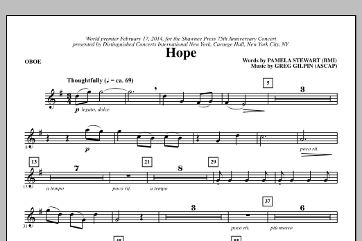 Paul Langford Hope - Oboe sheet music notes and chords. Download Printable PDF.