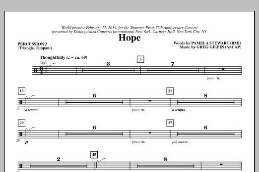 Paul Langford Hope - Percussion 2 sheet music notes and chords. Download Printable PDF.