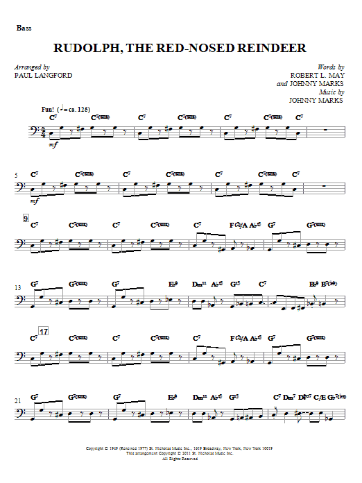 Paul Langford Rudolph, The Red-Nosed Reindeer - Bass sheet music notes and chords