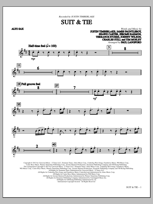 Paul Langford Suit & Tie - Alto Sax sheet music notes and chords. Download Printable PDF.