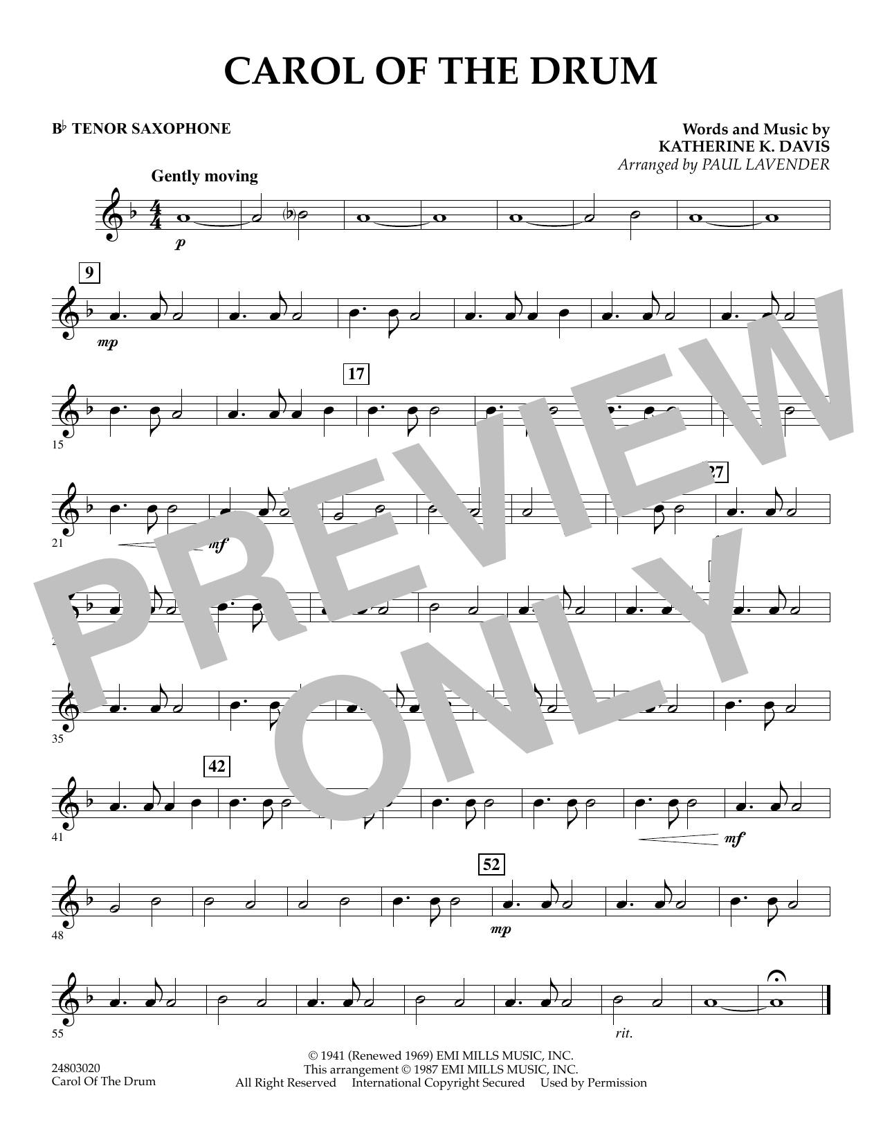 Paul Lavender Carol of the Drum - Bb Tenor Saxophone sheet music notes and chords. Download Printable PDF.