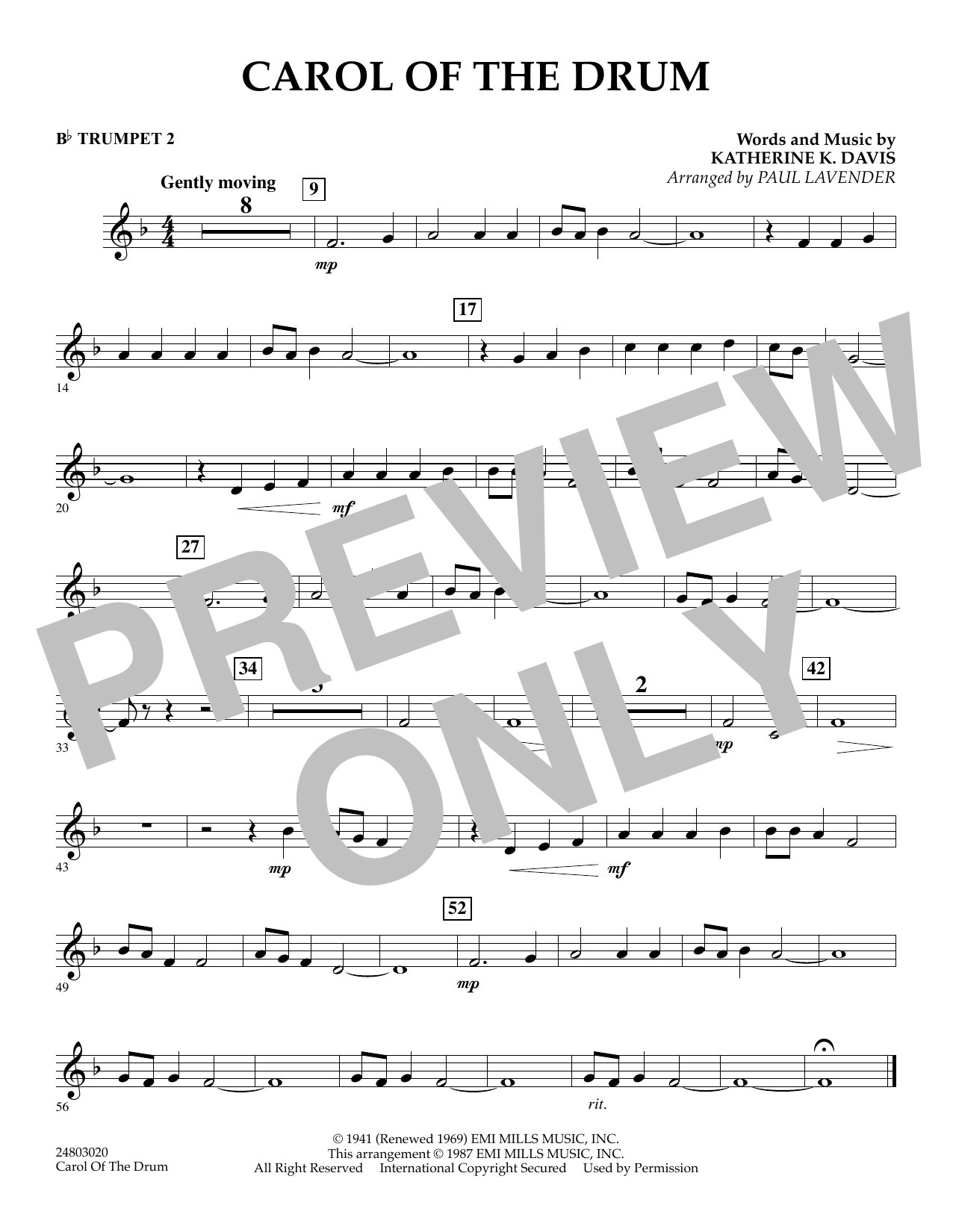 Paul Lavender Carol of the Drum - Bb Trumpet 2 sheet music notes and chords. Download Printable PDF.