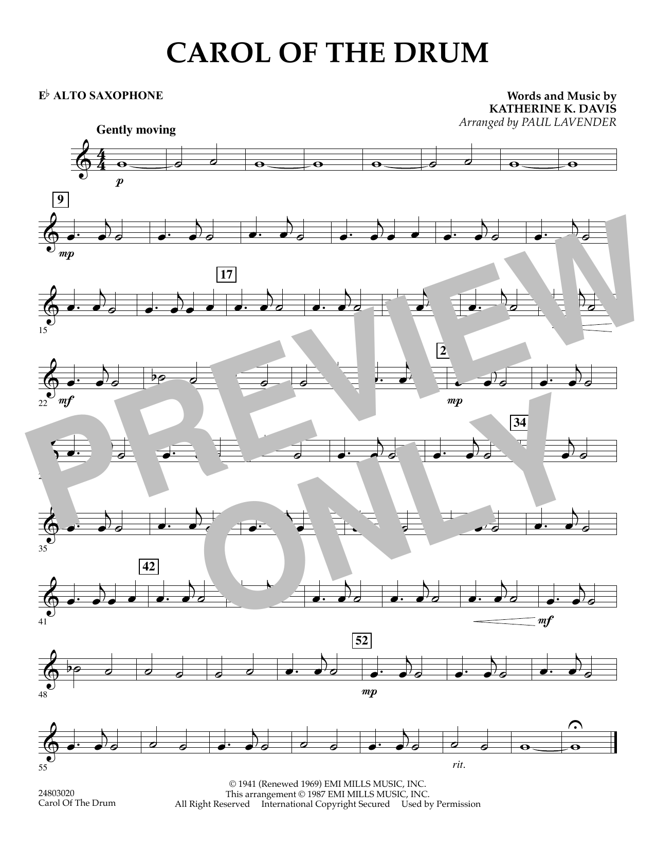 Paul Lavender Carol of the Drum - Eb Alto Saxophone sheet music notes and chords. Download Printable PDF.