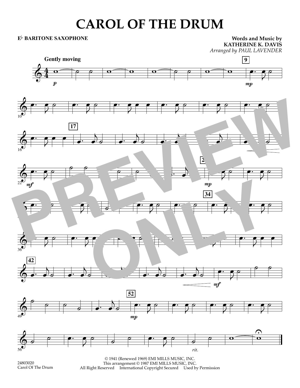 Paul Lavender Carol of the Drum - Eb Baritone Saxophone sheet music notes and chords. Download Printable PDF.