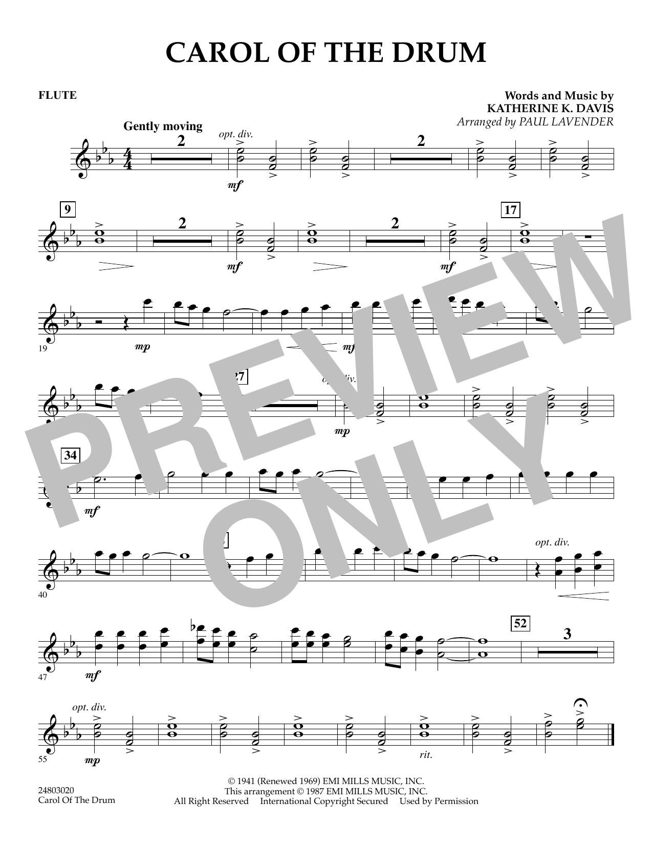 Paul Lavender Carol of the Drum - Flute sheet music notes and chords. Download Printable PDF.