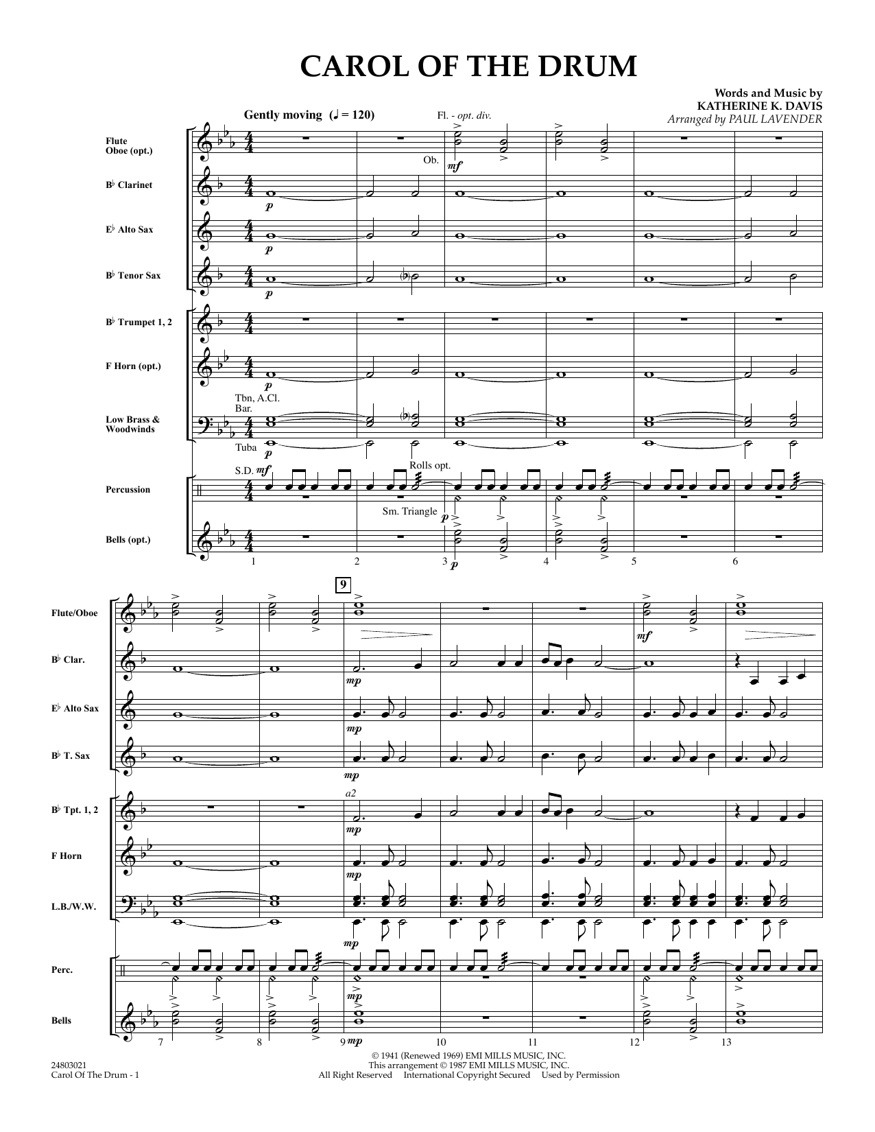 Paul Lavender Carol of the Drum - Full Score sheet music notes and chords. Download Printable PDF.