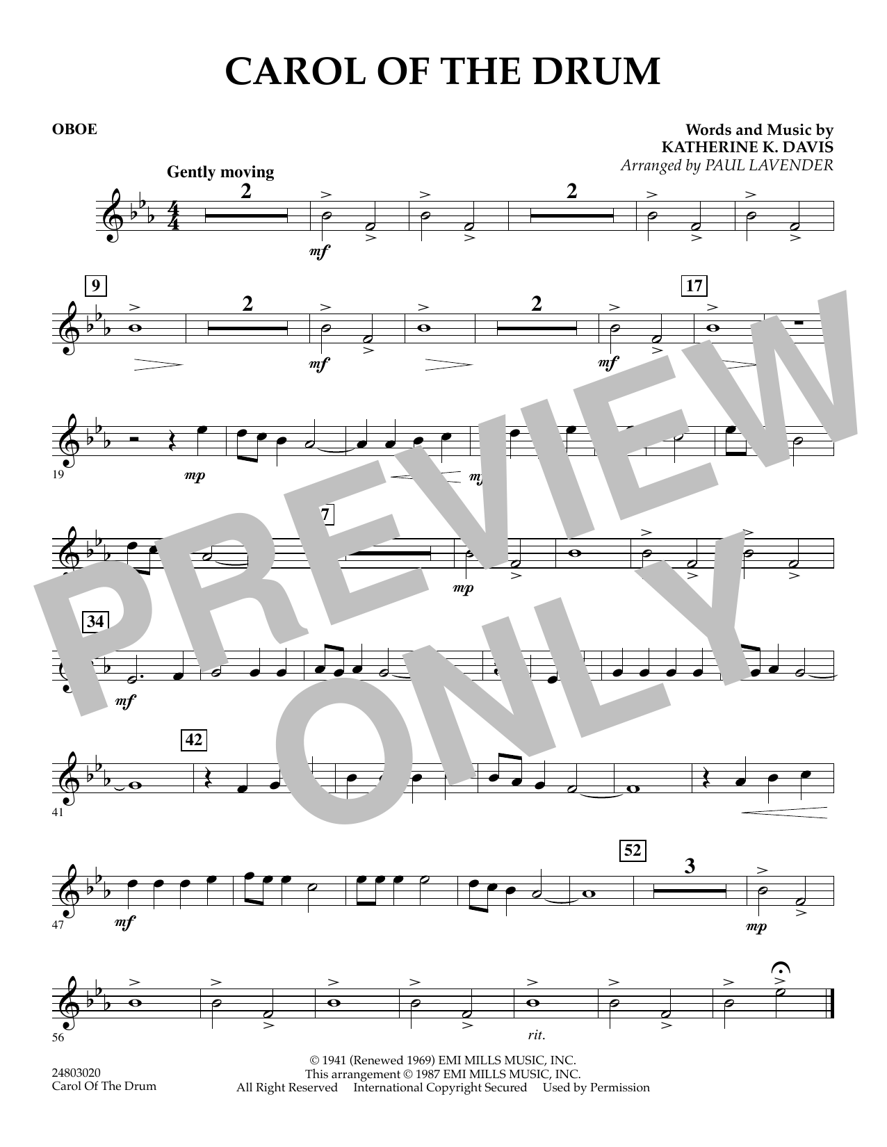 Paul Lavender Carol of the Drum - Oboe sheet music notes and chords. Download Printable PDF.