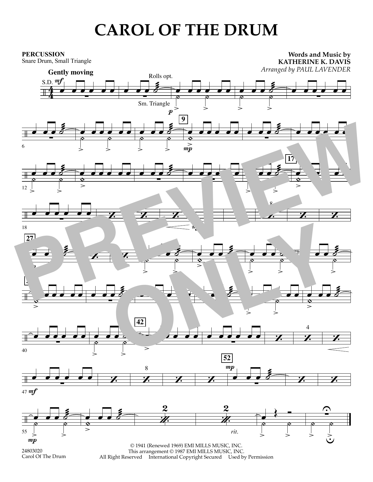 Paul Lavender Carol of the Drum - Percussion sheet music notes and chords. Download Printable PDF.