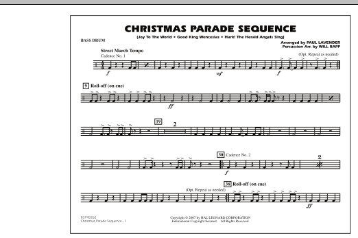 Paul Lavender Christmas Parade Sequence - Bass Drum sheet music notes and chords
