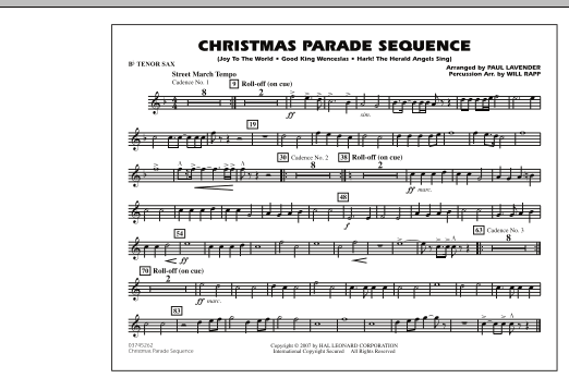 Paul Lavender Christmas Parade Sequence - Bb Tenor Sax sheet music notes and chords