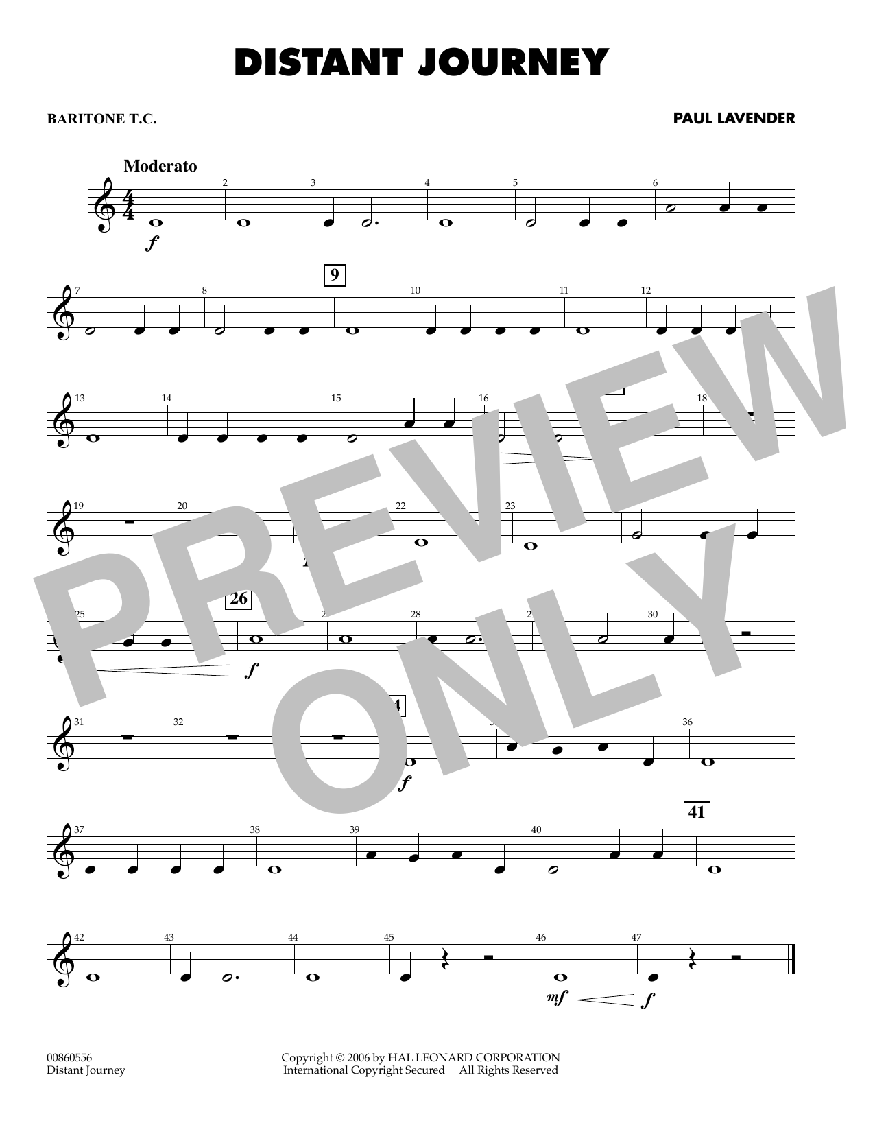 Paul Lavender Distant Journey - Baritone T.C. sheet music notes and chords. Download Printable PDF.