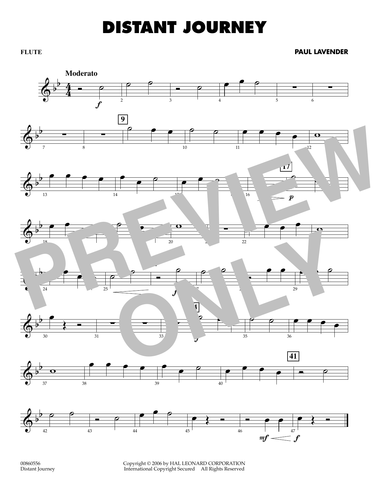 Paul Lavender Distant Journey - Flute sheet music notes and chords. Download Printable PDF.