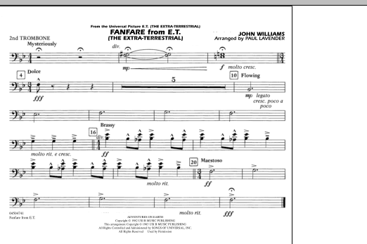 Paul Lavender Fanfare from E.T. (The Extra-Terrestrial) - 2nd Trombone sheet music notes and chords