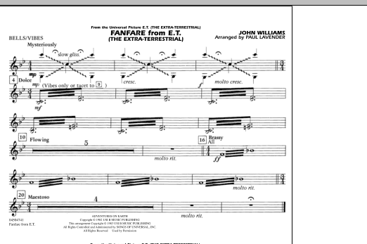 Paul Lavender Fanfare from E.T. (The Extra-Terrestrial) - Bells/Vibes sheet music notes and chords. Download Printable PDF.