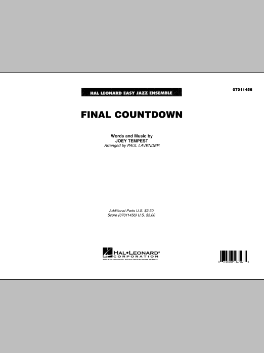 Paul Lavender Final Countdown - Full Score sheet music notes and chords. Download Printable PDF.